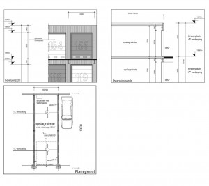 Bouwtekening garageboxen complex in Zutphen