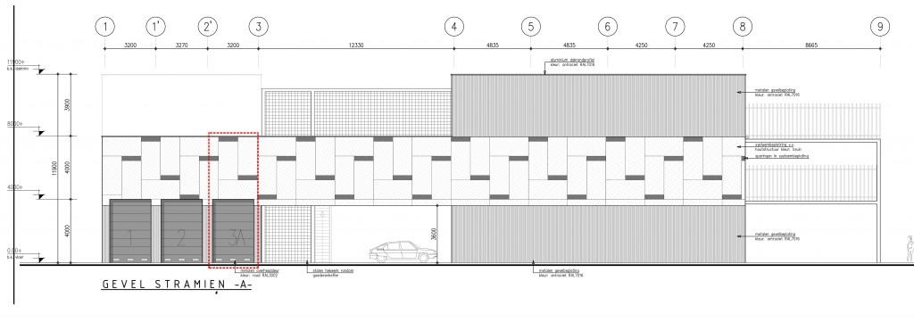 Ter indicatie: tekening van het gevelaanzicht voor het complex Haarlem met box 3A