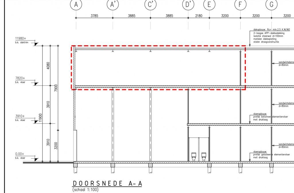 Ter indicatie: tekeningen plattegrond van complex in Amsterdam met box 112
