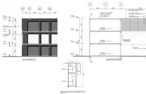 Bouwtekening garageboxen complex Amsterdam